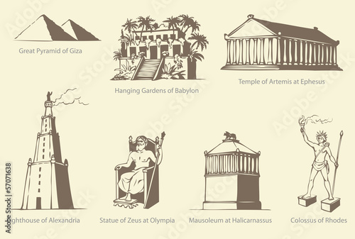 Vector symbols of The Seven Wonders of Ancient WORLD