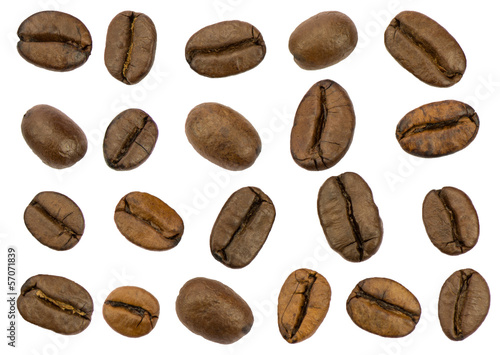 Fotografie, Obraz  Roasted coffee beans isolated. Separate clipping paths