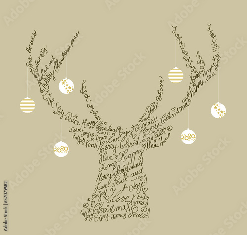 Christmas text shape reindeer, bauble composition EPS10 file.