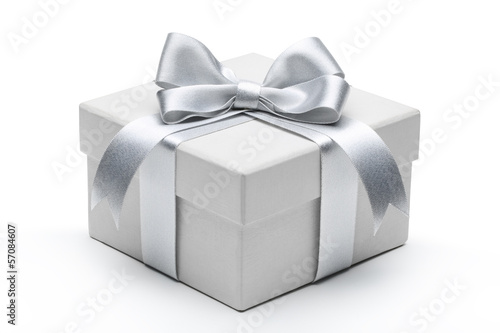 Fotografija Gift box with silver ribbon bow