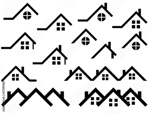 Canvas-taulu House roof set illustrated on white