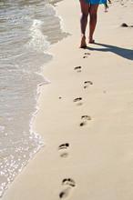 Human Footprints Sand Beach