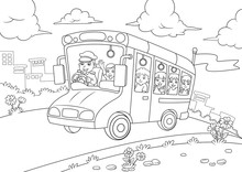 School Bus Outline For Coloring  Book