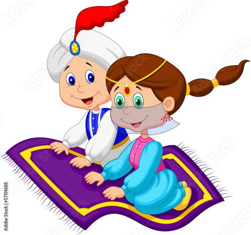 Fotografie, Obraz  Aladdin on a flying carpet traveling