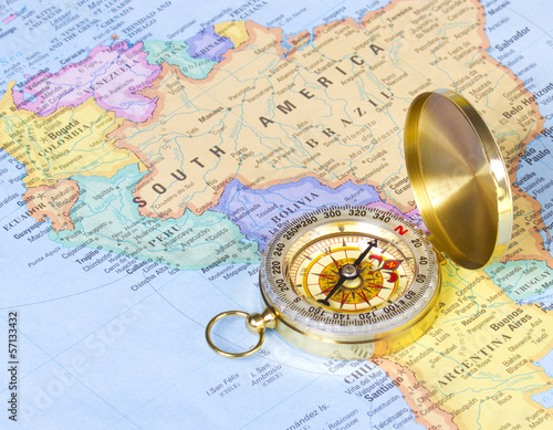 America Map With Compass.Gold Compass On Map Of South America Buy This Stock Photo And