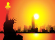 Statue of Liberty & New York city at Morning-vector