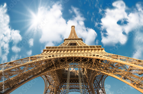 Fototapety, obrazy: Paris. Powerful structure of Magnificent Eiffel Tower at sunset