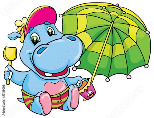 hippopotamus with a green umbrella Fototapet