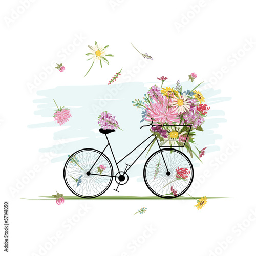Foto op Canvas Bloemen vrouw Female bicycle with floral basket for your design