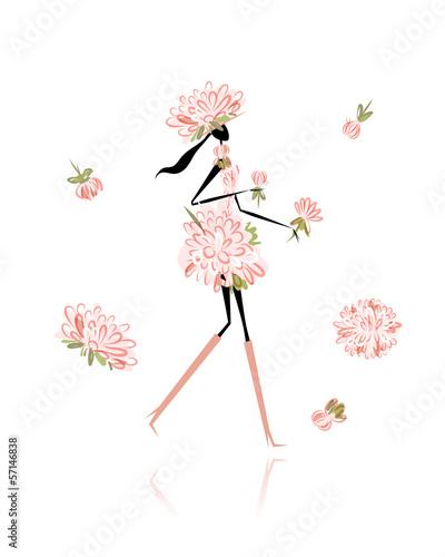 Foto op Canvas Bloemen vrouw Floral girl for your design
