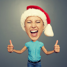 Screaming Woman In Santa Hat