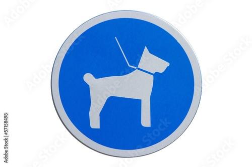 Photo  Panneau d'obligation de tenir son chien en laisse
