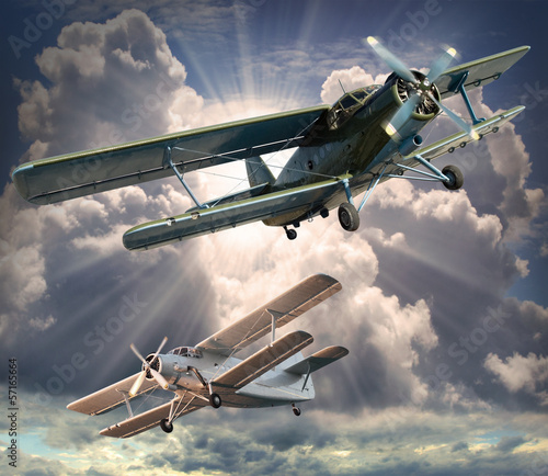 Retro style picture of the biplanes. Transportation theme. Canvas-taulu