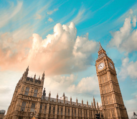 Fototapeta na wymiar The Palace of Westminster is the meeting place of the House of C
