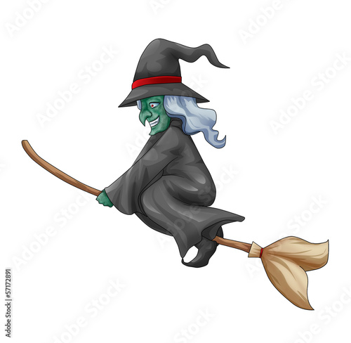 Fotografía Cartoon illustration of a witch flying with her broom