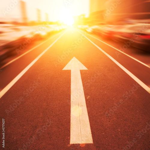 asphalt road arrows