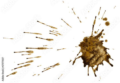 Fotografía  Coffee or mud splat isolated on white. Clipping path.