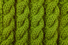 Closeup Of Green Cable Knittin...