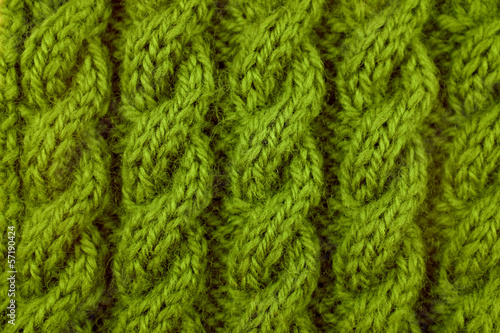 Wall Murals Forest Closeup of green cable knitting stitch