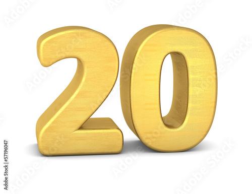 Cuadros en Lienzo zahl cipher 20 gold vertikal
