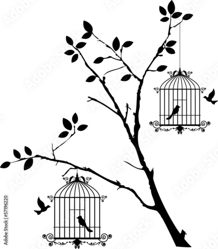 Poster Birds in cages tree silhouette with birds flying and bird in a cage