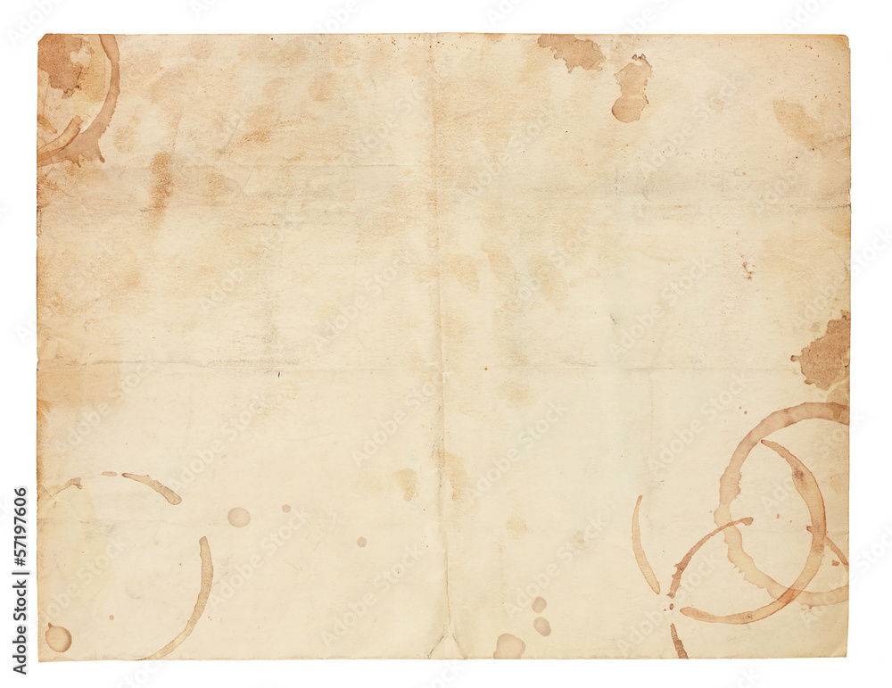 Fototapeta Old Blank Paper with Coffee Ring Stains