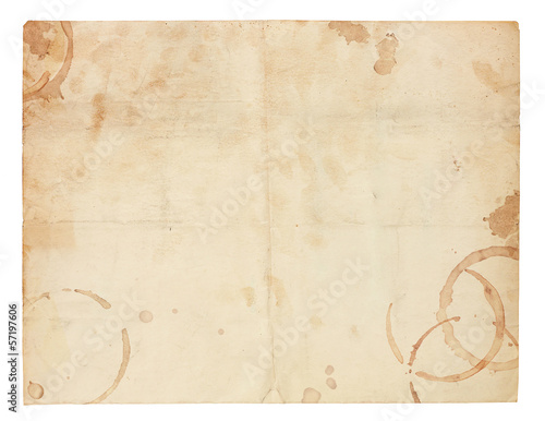 Foto op Plexiglas Retro Old Blank Paper with Coffee Ring Stains