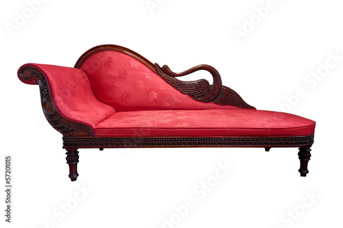 Tableau sur Toile Red chaise longue isolated on white