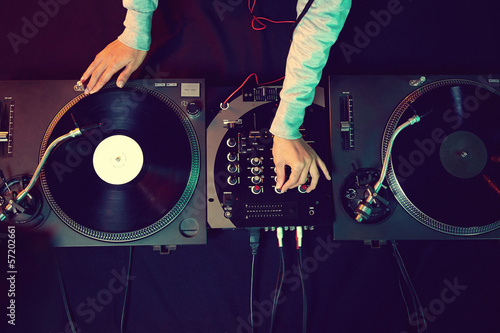 Fotografie, Tablou  dj using equipment
