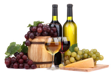 Barrel, bottles and glasses of wine, cheese and grapes,