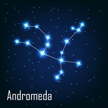 """The Constellation """" Andromeda"""" Star In The Night Sky. Vector Ill"""