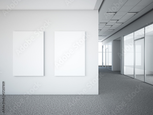 Foto op Plexiglas Wand office interior with two white frames