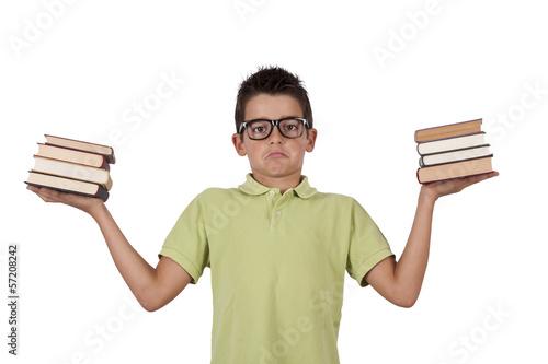Fotografie, Obraz  chico con libros en las manos