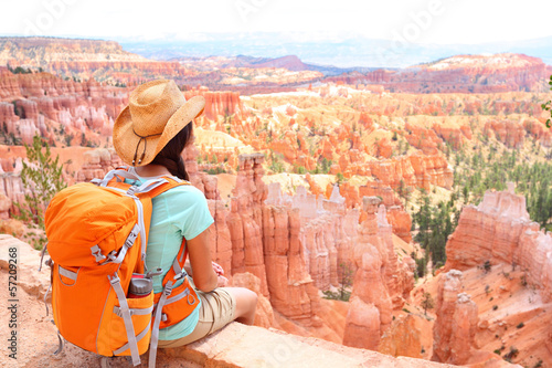 Hiker woman in Bryce Canyon hiking Wallpaper Mural