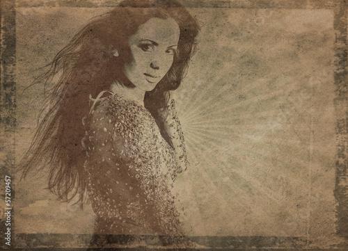 Photo  Retro styled grunge portrait of young beautiful woman.