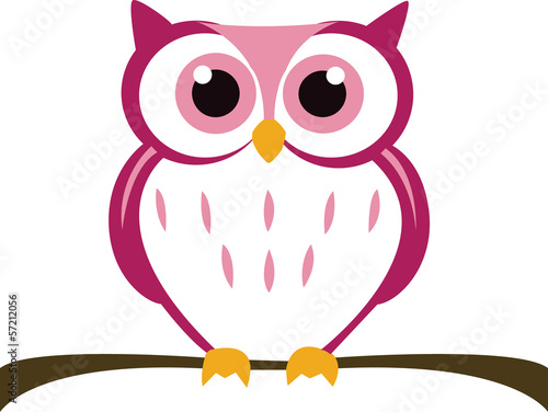 Poster Uilen cartoon Pink Owl