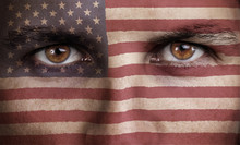 Usa, American Flag Painted On The Face Of Young Man