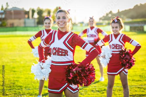 Cuadros en Lienzo Group of Cheerleaders in the Field