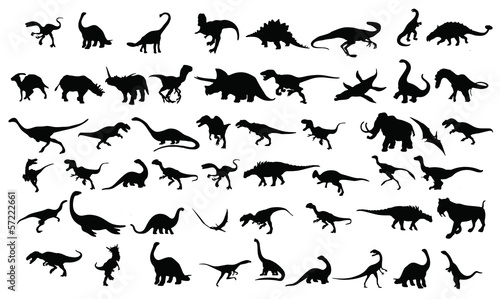 Photo  dinosaurs silhouettes collection