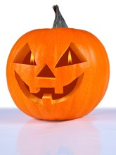 Pumpkin, Halloween, Old Jack-o-lantern On White Background