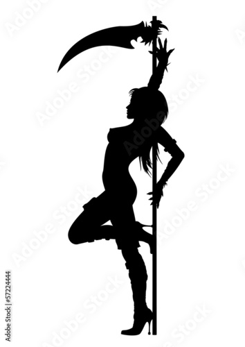 Striptease silhouette of Grim Reaper girl Poster