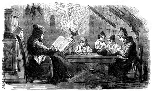 Fotografie, Obraz  Scandinavian Peasants : Quiet Evening - 19th century