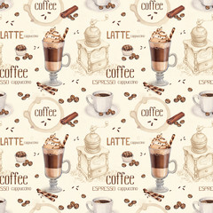 Panel Szklany Słodycze Seamless pattern with illustrations of coffee cup