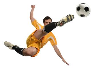 Adult soccer kick