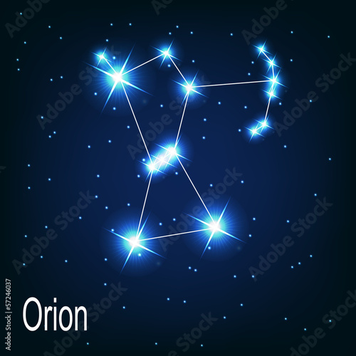 The constellation Orion star in the night sky. Vector illustra Canvas Print
