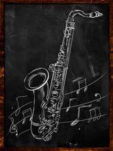 Saxophone Drawing Sketching On Blackboard