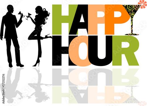Fotografie, Obraz  Happy Hour logo con coppia
