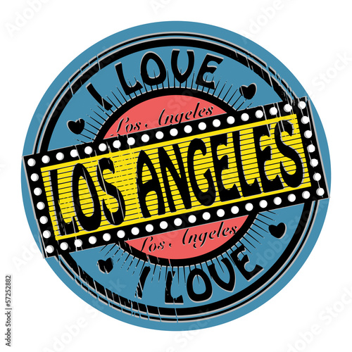 Grunge color stamp with text I Love Los Angeles inside, vector