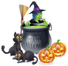 Happy Halloween Witch And Cauldron