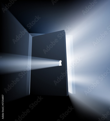 Photo Ajar door light beam concept